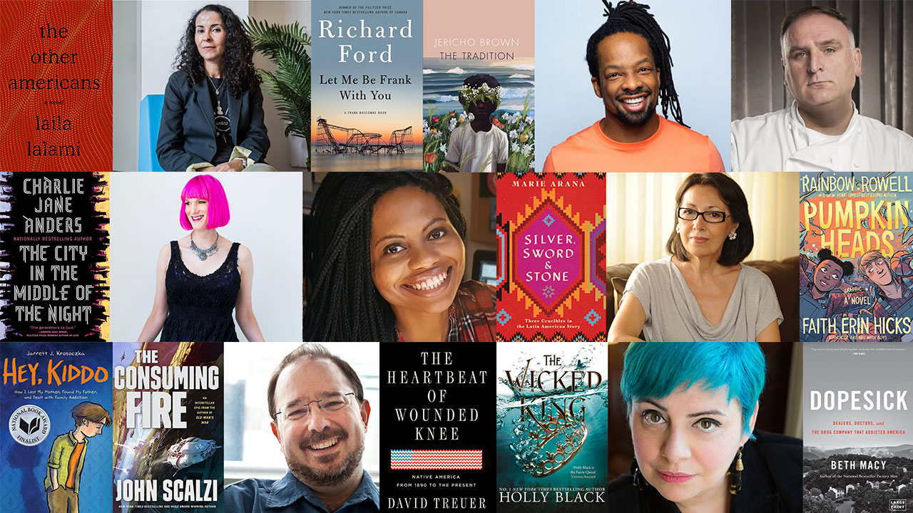 Image of authors and books from the schedule.